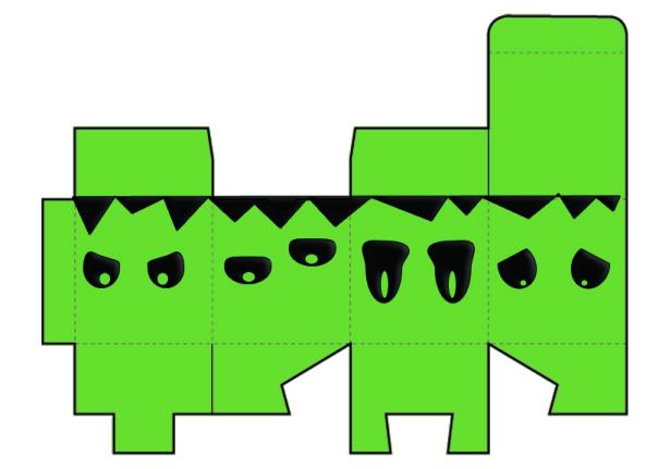 descarga gratis caja halloween forma de cubo con frankenstein fondo verde
