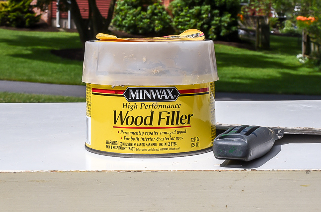 Minwax wood filler for repairing old hardware holes