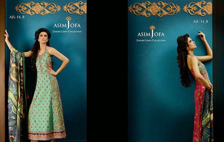 Asim-Jofa Embroidered Stylish Lawn Collection 2014-2015 fashionwearstyle.com