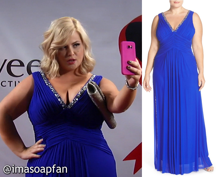Amy Driscoll, Risa Dorken, Pleated Cobalt Blue Gown with Beaded Neckline, Nurses Ball, GH, General Hospital