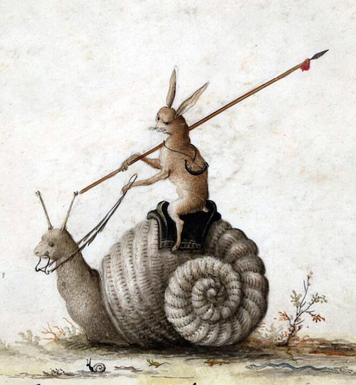 Illustration of rabbit with spear riding giant snail, Netherlands, 1650