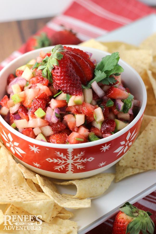 Strawberry Apple Fruit Salsa Recipe via Renee's Kitchen Adventures