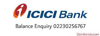Icici  bank balance enquiry number