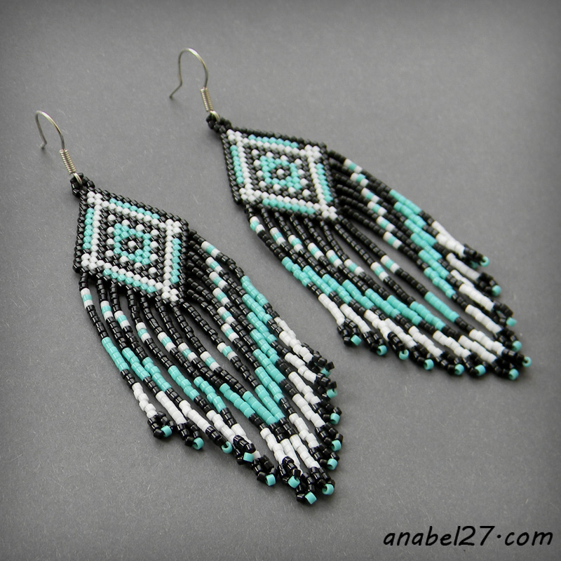 Seed bead earrings - beadwork jewelry