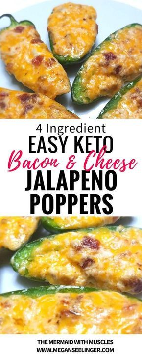 These cream cheese and bacon jalapeno poppers are easy to throw in the oven. The combination of cheese, bacon, and spicy jalapenos makes these the best savory fat bombs, Keto snacks or Keto appetizers for your next party.