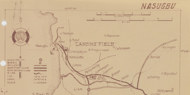 A sketch of Nasugbu with the airfield shown.  Image source:  United States National Archives.