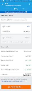 Invoice Traveloka dengan Diskon
