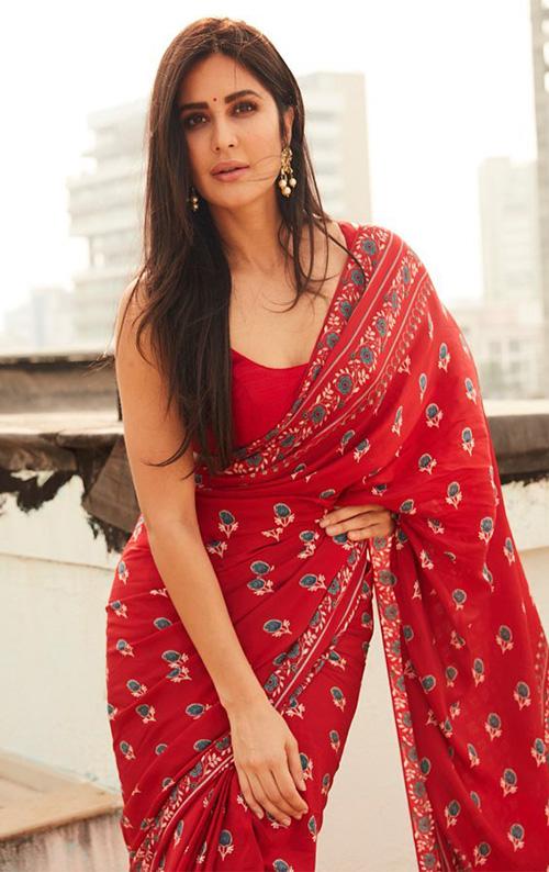katrina kaif red saree bollywood actress sleeveless blouse