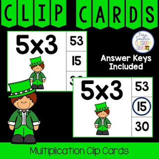Multiplication 0 to 12 Facts Clip Cards Leprechaun Themed