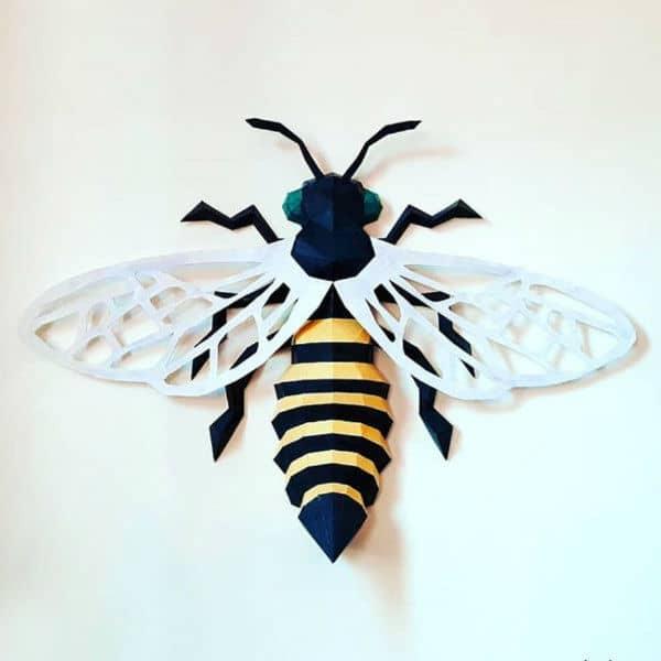 folded paper bee model