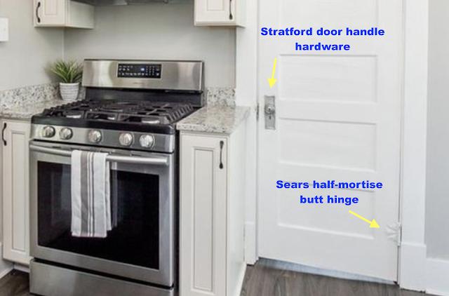 Sears Stratford door handle hardware and Sears half-mortise butt hinge with craftsman trim on doorways and windows • 24 Massie Avenue, Paris, Kentucky, Sears Norwood model
