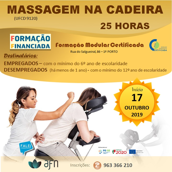 Curso financiado: Massagem na cadeira – Porto