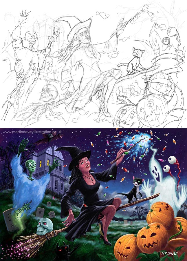 drawing vs painting WIP of witch giving candy to ghosts