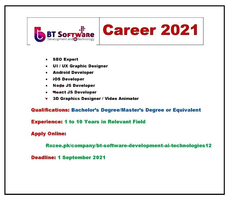BT Software Development & AI Technologies Latest Jobs - IT  Sector 2021 Apply online
