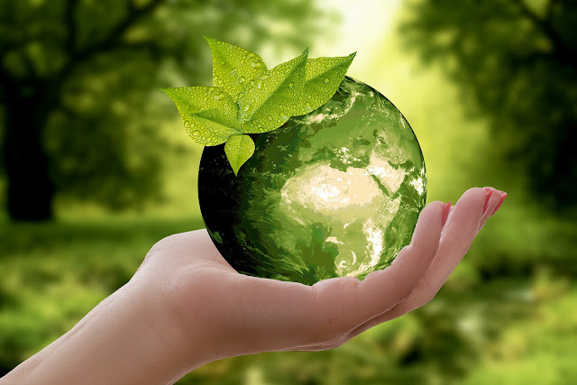 Grüner Erdball in unseren Händen