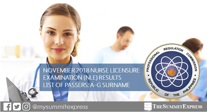 A-G List of Passers: November 2018 NLE nursing board exam result
