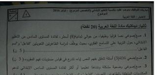 """نموذج تصحيح موضوع في الديدكتيك (ابتدائي """"لغة عربية)"""