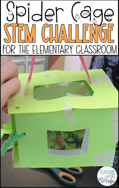 """Perfect for your study of spiders! It's a STEM Challenge featuring arachnids. Students will totally think the spiders are real and you will have a little fun """"tricking"""" them. They will have a blast making a cage for those spiders! Even though this challenge is great for Halloween it can be used any time of year!"""