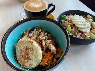Lunch: Teriyaki chicken bowl, caesar salad