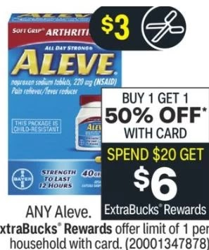 Free at CVS Aleve Pain Reliever