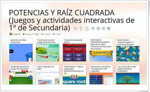 11 juegos y actividades interactivas sobre POTENCIAS Y RAÍZ CUADRADA de 1º de Secundaria