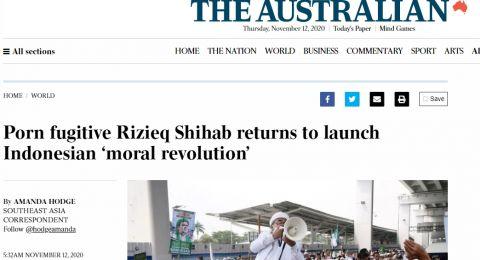 Lancang! Media Australia Sebut Habib Rizieq sebagai Buronan P*rno