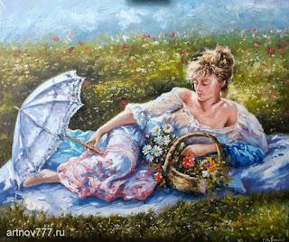 Дама с зонтиком и корзиной