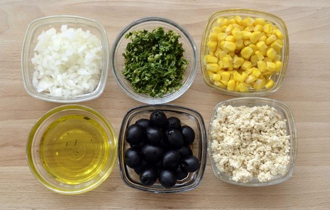 Ensalada de tofu y maíz