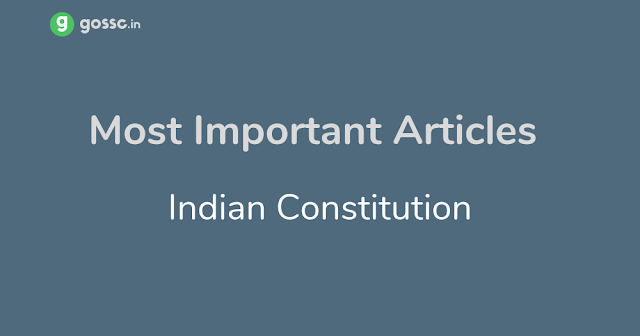 Important Articles Indian Constitution