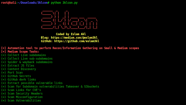 3klCon - Automation Recon Tool Which Works With Large And Medium Scope