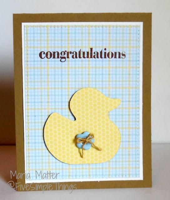 Congratulations baby card, with Doodlebug Designs paper, Inkadinkado stamps