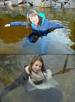 Frau posiert extrem lustig für Foto - Kuriose Ideen Spassbilder