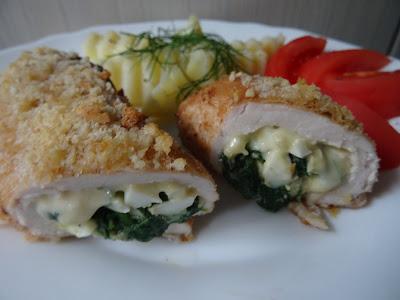 Filet z kurczaka ze szpinakiem pieczony