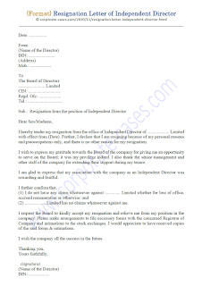 resignation letter of independent director of listed company