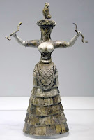 A Mother Goddess Sculpture with Snakes in both hands from Paleolithic period.