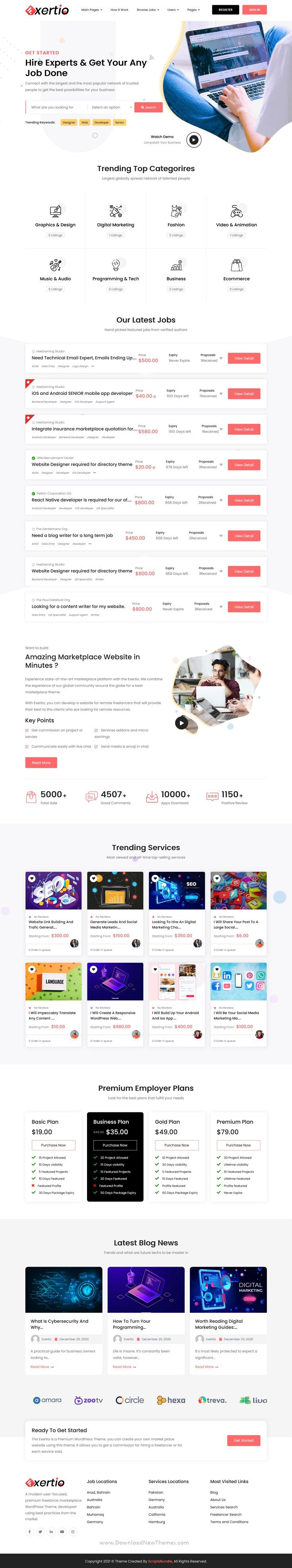 Exertio - Freelance Marketplace HTML Template