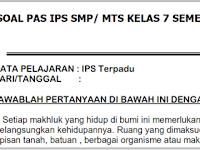 Soal Lat PAS/ UAS IPS Kelas 7 K 13 Semester 1 Th. 2018