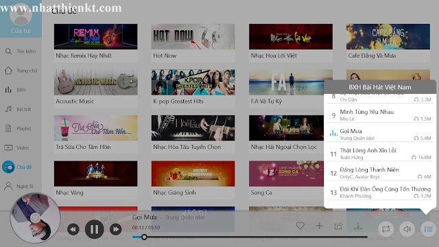 Ứng dụng nhaccuatui cực đẹp cho windows 8.1