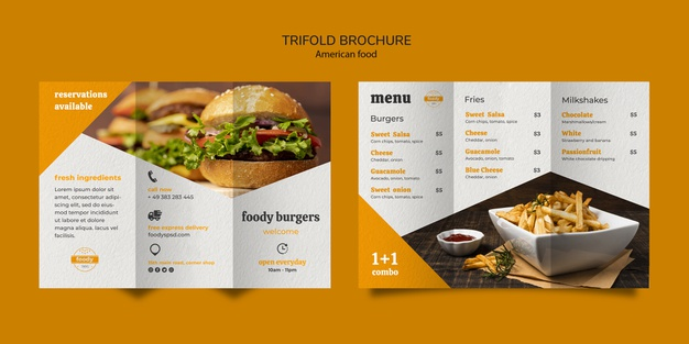 American fast food and fries combo trifold brochure Free Psd