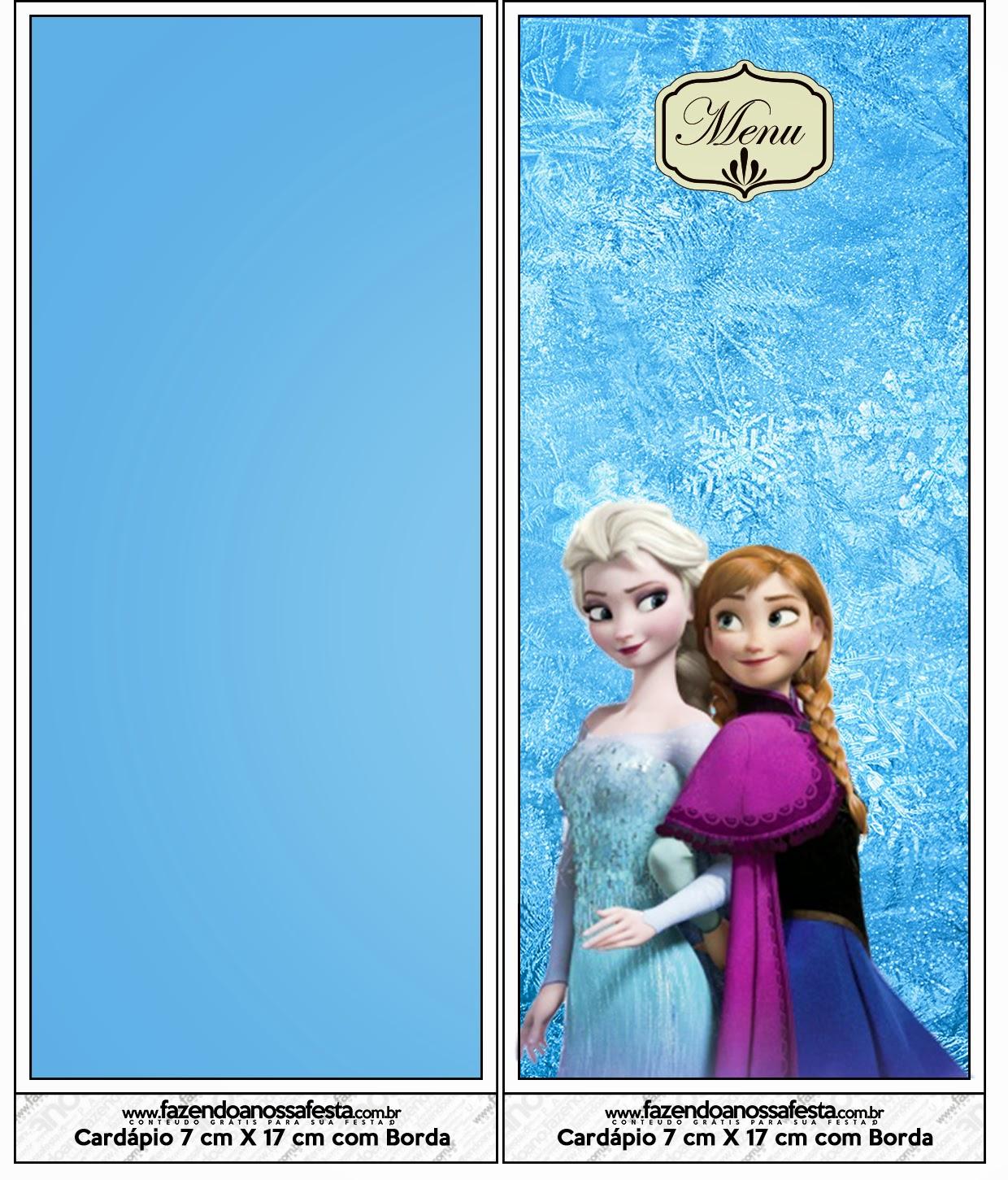 Para menús o programas para Fiestas de Frozen.