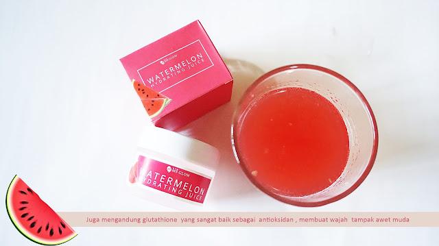 Kandungan Watermelon Hydrating Juice adalah ekstrak semangka, aloe vera dan glutathion