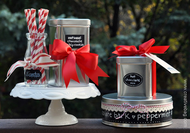 chalkboard art inspired packaging ideas for the holidays using tin containers by Creative Bag