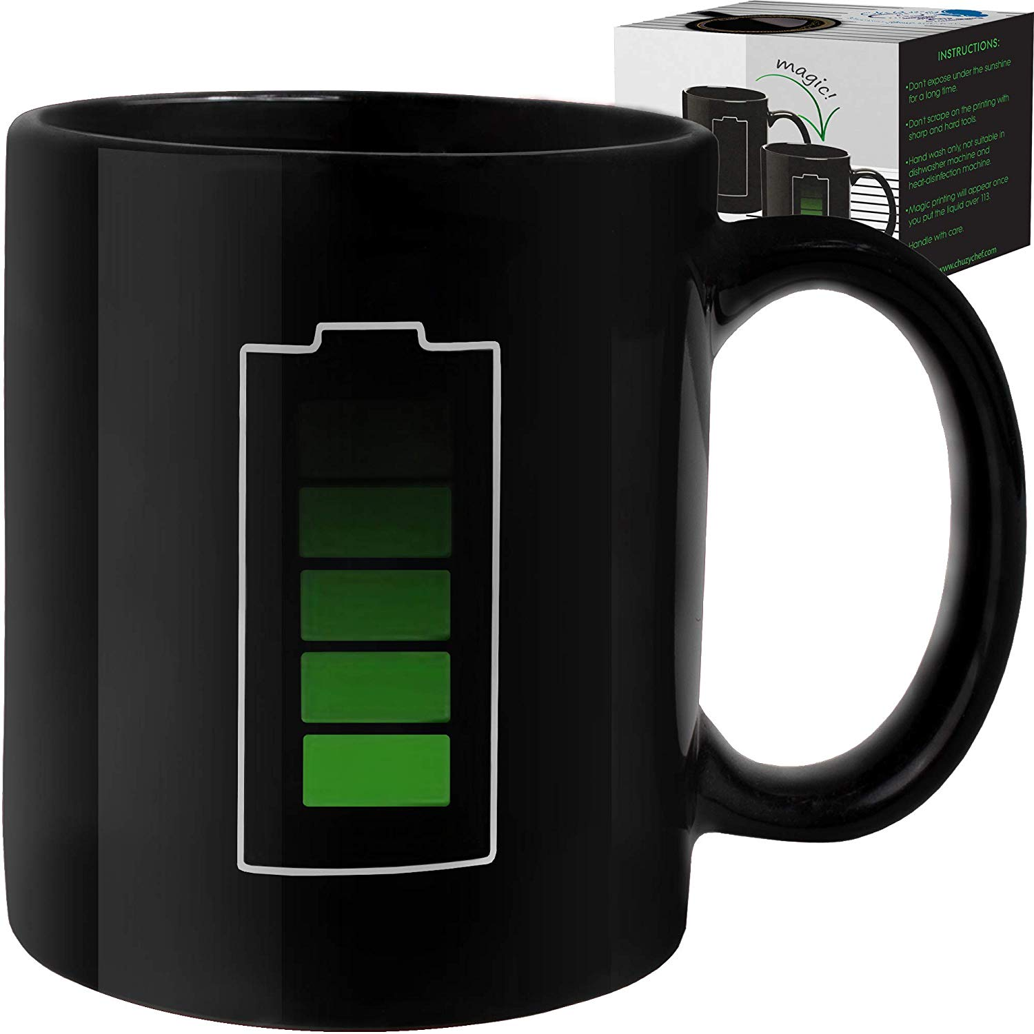 Technology themed mug: Charge reveals GREEN when hot liquid is poured in