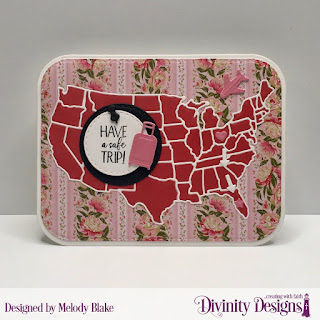 Divinity Designs Stamp Set: Adventure Awaits, Custom Dies: USA Map, Double Stitched Circles, Double Stitched Rounded Rectangles, Rounded Rectangles, Paper Collection: Pretty Pink Peonies