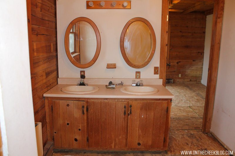 'Before' photo of our bathroom when we first purchased our fixer upper!