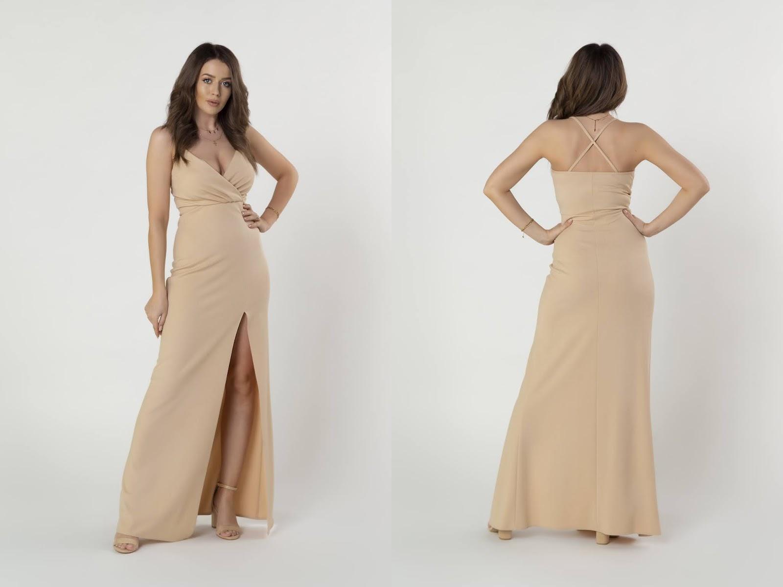 Sukienka maxi na ramiączkach z kopertowym dekoltem i głębokim rozporkiem ptakmoda.com