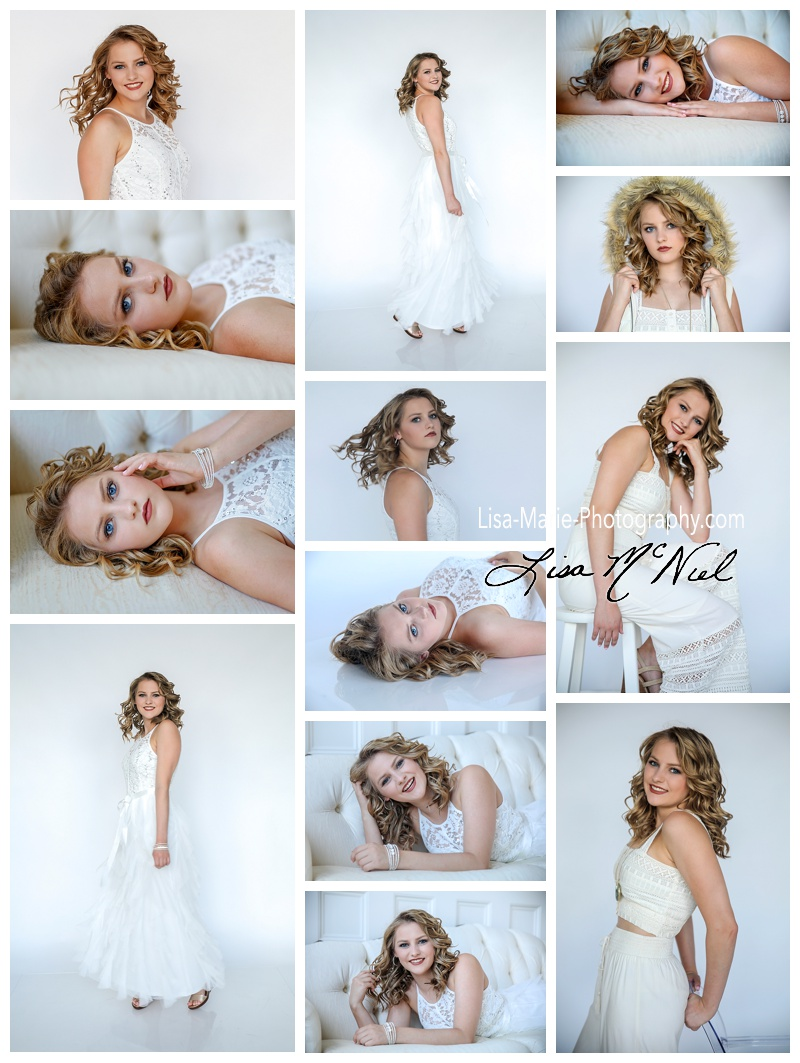 girl in white in senior portraits