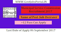 West Bengal Municipal Service Commission Recruitment 2017– 149 Sub Overseer