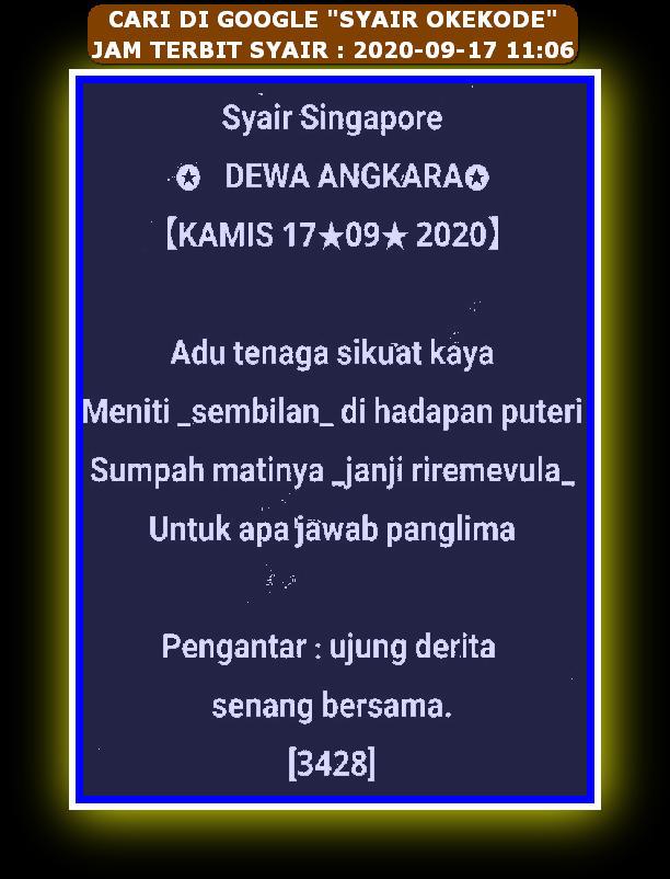Kode syair Singapore Kamis 17 September 2020 101