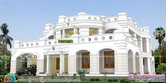 Colonial decorative home plan with 5 bedrooms